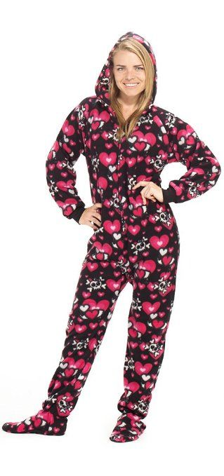 Amazon.com: Footed Pajamas Hearts n Skulls Adult Hoodie One Piece: Clothing