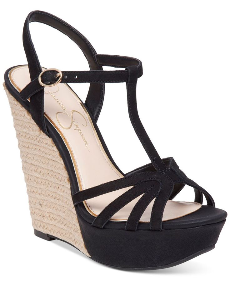 Your style rises above the rest in strappy-chic fashion with the contrast wedge heel and T-strap design of Jessica Simpson's Bevin sandals. | Leather or manmade uppers; manmade sole | Imported | Fabri