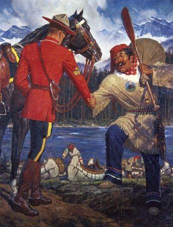 NorthWest Mountie & Metis man, painting by Arnold Friberg