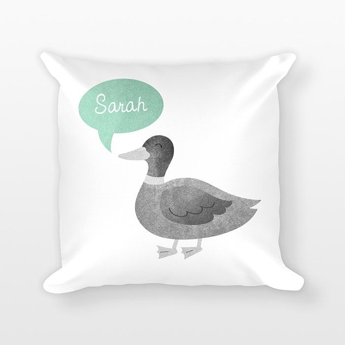 """Duck Personalized Name Pillow by Happy Cat Prints Personalized with the name you want!Provide name at checkout, in the """"note"""" box (see pic 3).A DIGITAL PROOF will be emailed to youin 1-2 business days.For you to review before production.PRODUCTION TIME&SHIPPING: see About page> A Happy Cat Prints exclusive design> Printed on BOTH sides> Color for name bubble: you choose! (see pic 2)> Animal will be printed in gray textures as shown> Size: 18 x 18 inchesCover:> Removable for easy care (zipper…"""