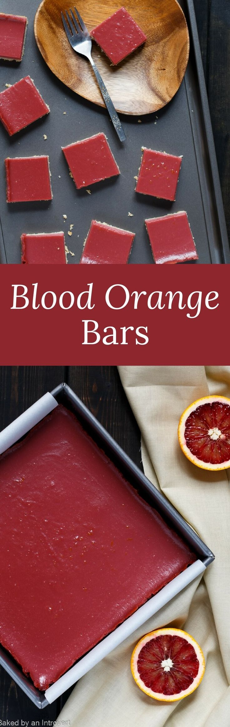 Blood Orange Bars are a less tangy version of lemon bars. They are vibrant, full of orange flavor, and rest on a buttery shortbread crust. via @introvertbaker
