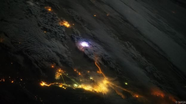 A lightning strike observed from the International Space Station (Credit: NASA)