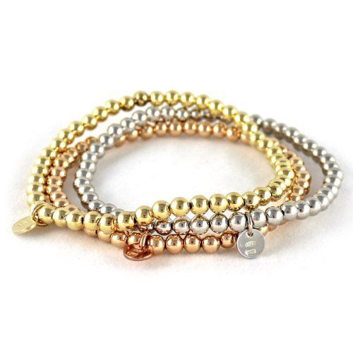 Three-color Sterling Silver Stretchable Beaded Bracelet Beauniq. $99.00. Italy made. White, Yellow, Rose Gold over Sterling Silver Bracelets. Bracelets are 7.5 inch long and stretch up to 8.5 inch. Save 48% Off!