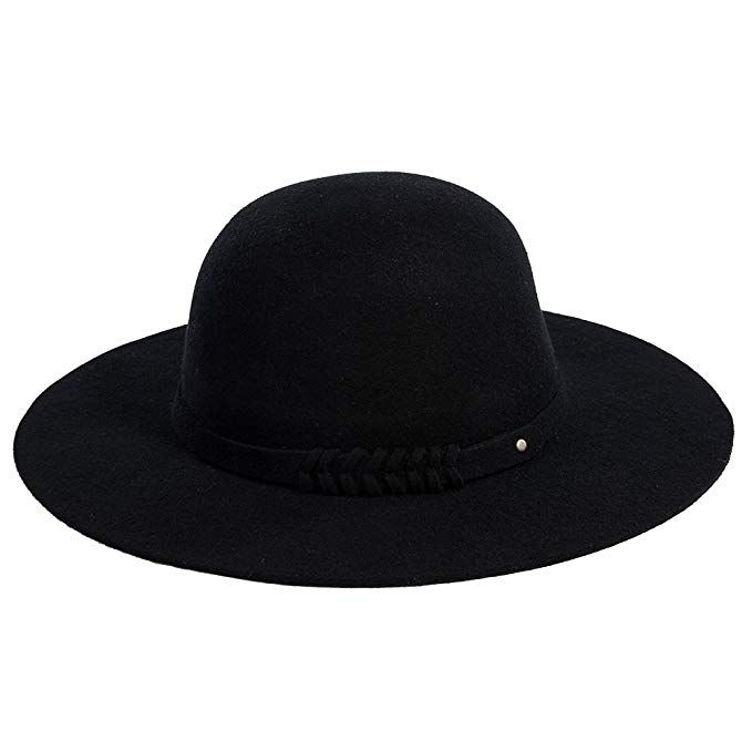 fafcd229686 Jeff   Aimy Womens 100% Wool Felt Hat Winter Panama Fedora Pork Pie Church  Derby Party Hats Wide Brim Fashion Black