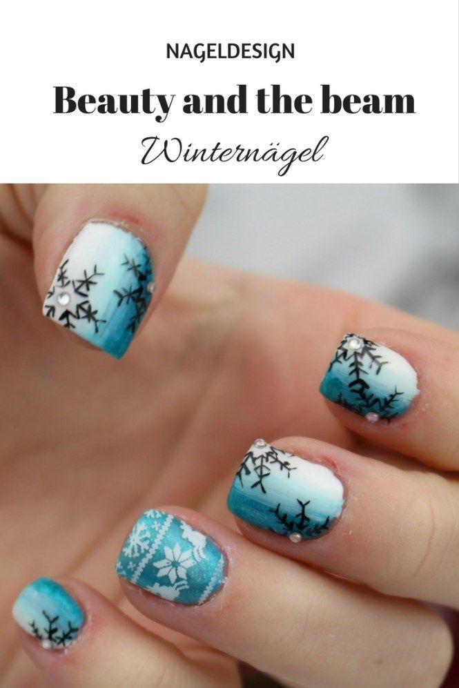 [Nails] Winternägel blau/weiß | Beauty and the beam