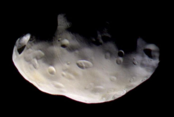 Pandora : Saturn's Moon - In September 2005, NASA's Cassini spacecraft passed about 31,068 miles (50,000 km) from the unusual moon. Its craters appear to be covered with some sort of material. Like its companion moon Prometheus, it is a shepherd moon which helps keep the particles of Saturn's F-ring in a distinct ring
