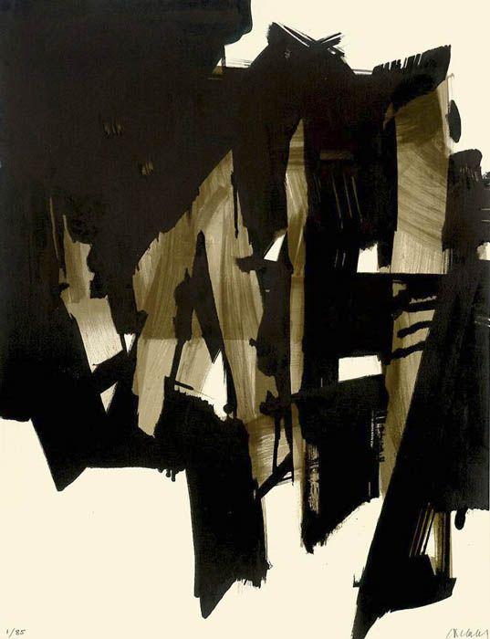"""Pierre Soulages 1919 – Paris """"LITHOGRAPHIE NO. 15"""" 1964."""