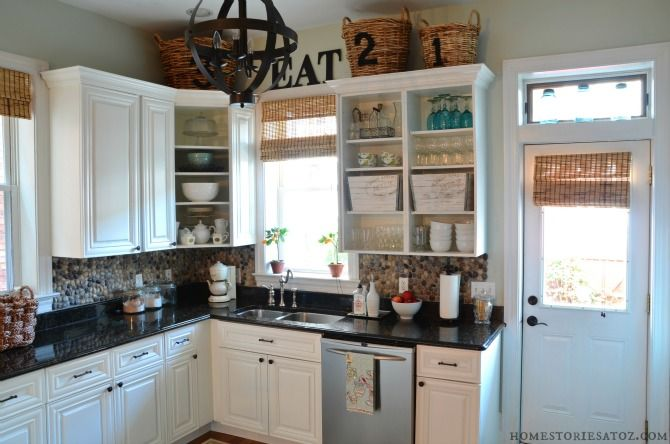 5 Easy Ways to Update Your Kitchen: Open cabinets let you see your dishes and look inviting!