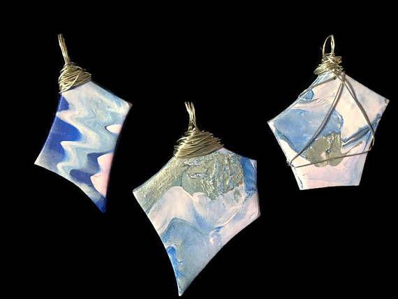 Easter Jewelry Boho Polymer Clay Necklace Blue Pendants handmade by PolymerJewelryCanada on etsy.com