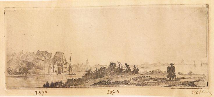 """Peisaj marin și pescar cu undiță, 1789-1797 (după Rembrandt). Imagine din colecțiile Bibliotecii """"V.A. Urechia"""" Galați."""