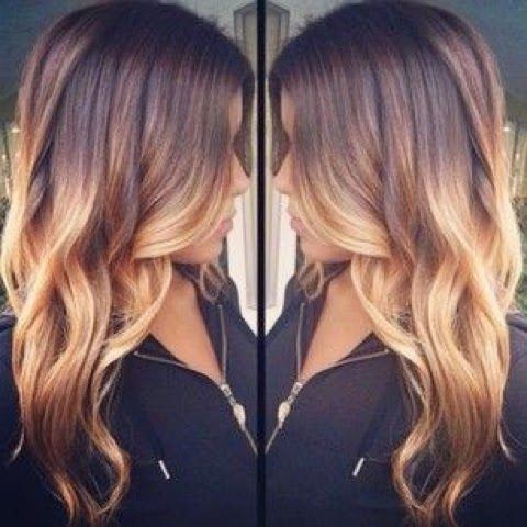 Ombre Hair Brown To Caramel To Blonde Medium Length 1000+ images ab...