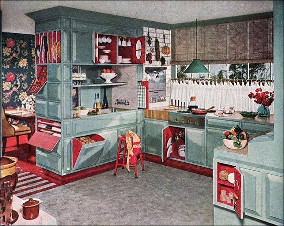 Vintage Kitchen Decor Theme I Love The Red Inside The Cabinets