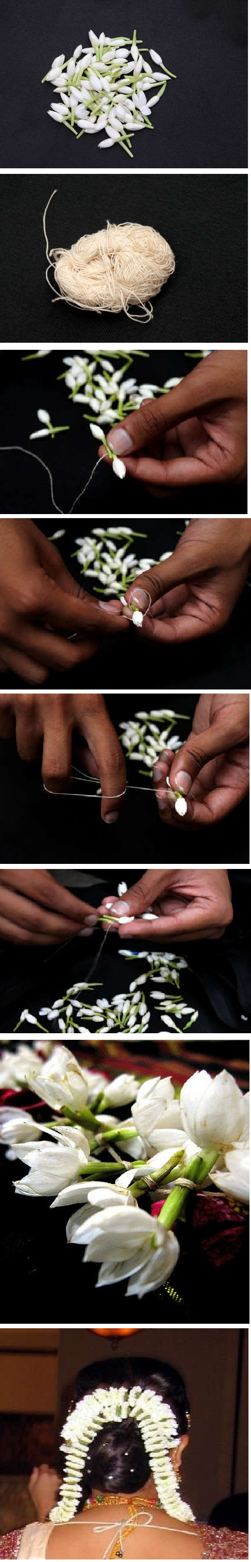 How to make a Gajra (Traditional Indian garland), typically made using jasmine flowers, to dress up your hairstyle!