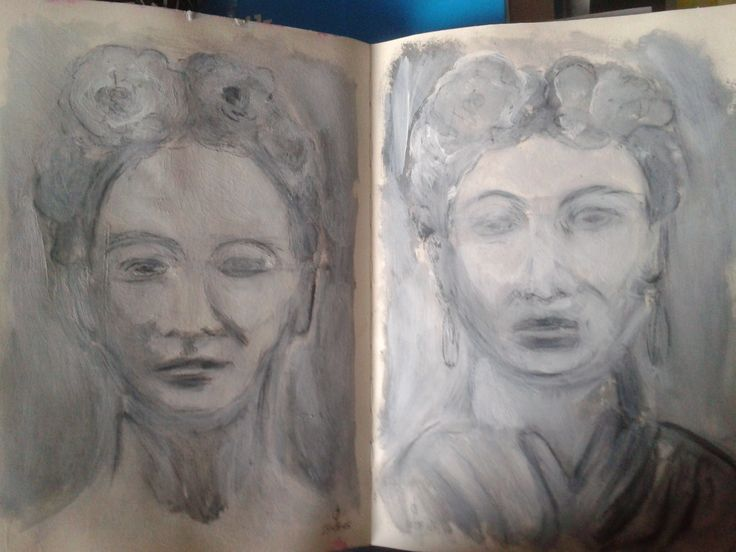 https://flic.kr/p/x6hUWA | Playing with charcoal and gesso | #dailyart  Inspired by a lesson by Jeanne Oliver, studying the face, using charcoal and gesso. The reference was a photo of Frida  Kahlo; we follow it only loosely. 2015-08-26 08.20.23