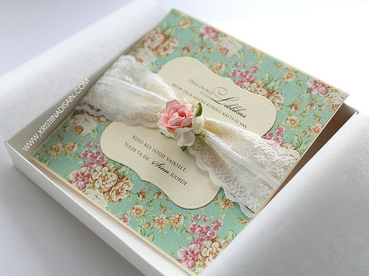 DIY Floral Wedding Invitation With Lace. Make Your Own Wedding Invitations  For Vintage Theme Wedding.