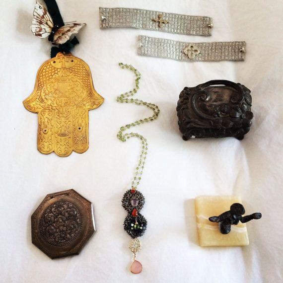 Silver Bracelets with Hamsa Clover Cross by SapphoByKimSmiley