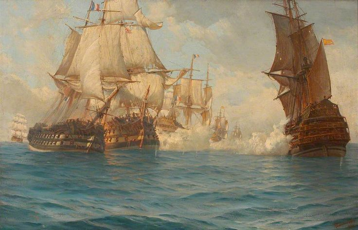 Thomas Jacques Somerscales, The Battle of Trafalgar, 21 October 1805. Painted 1894. Government Art Collection. UK.