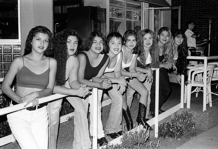 """Happy Saturday everyone! TAKING YOU BACK TO THE 90s! I am posting this photo to honor Southern California's youth culture. Back in the 90s, weekends were about hanging out with friends, going cruising on the boulevard and going to raves and house parties. Here is a photo of 'The Girls' party crew at Johnny Rockets on Melrose in 1992 by Los Angeles based artist and photographer, Eddie Ruvalcaba (photographer for Homeboy Industries and former photographer for Street Beat Magazine) """"The Girls…"""