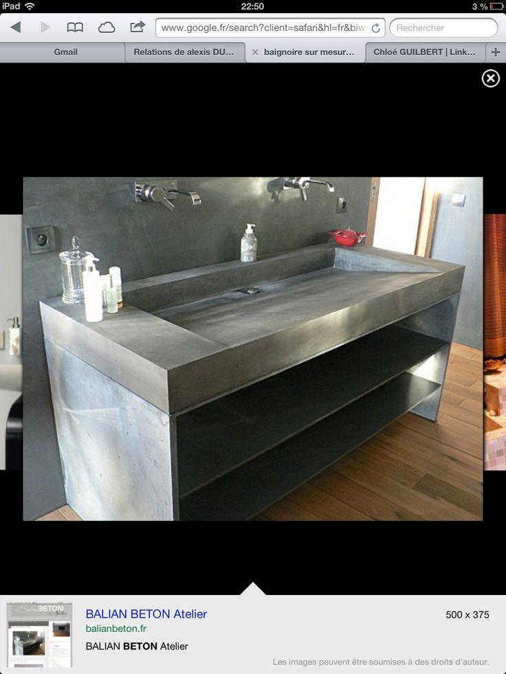 Les 94 meilleures images propos de salle de bain b ton for Plan vasque beton cire