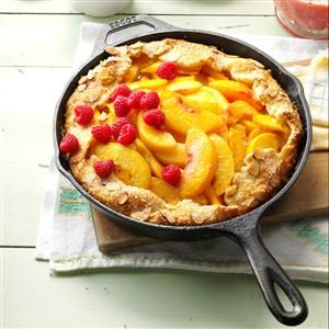 Cast-Iron Peach Crostata Recipe -While the crostata, an open-faced fruit tart, is actually Italian, my version's peach filling is American all the way. —Lauren Knoelke, Milwaukee, Wisconsin