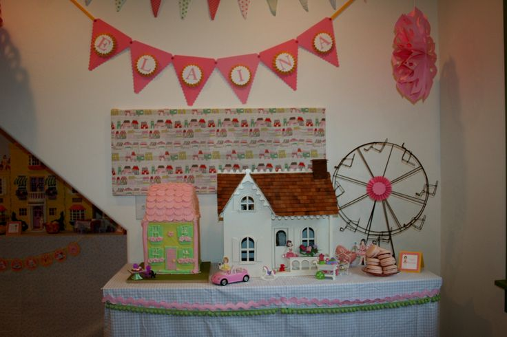 Doll birthday, dollhouse birthday cake and stampin up banner