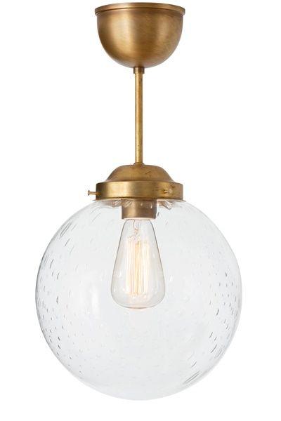 Taklampa Glob Mässing klarglas - Konsthantverk - Dennys Home