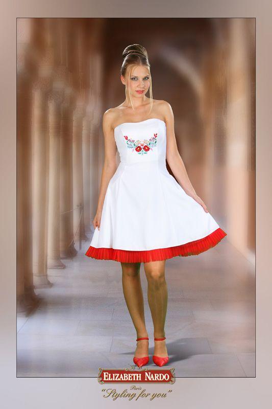 13-131 fehér szatén kalocsai - MENYECSKE ruha / 2013 Menyecske ruhák Elizabeth…