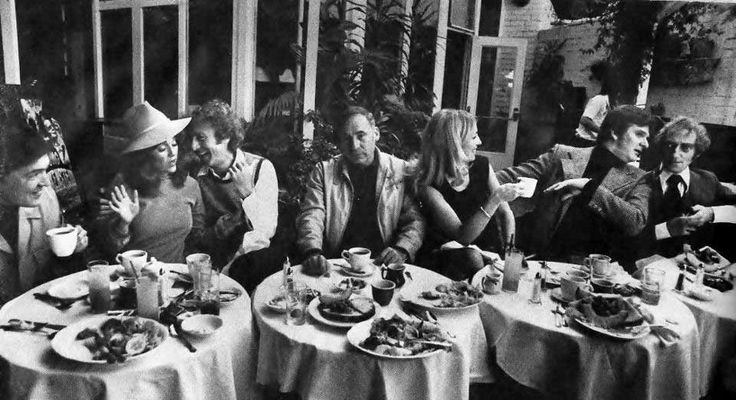 Mel Brooks with the cast of Young Frankenstein, Madeline Kahn, Gene Wilder, Teri Garr, Kenneth Mars and Marty Feldman, at The Daisy in Beverly Hills, 1974
