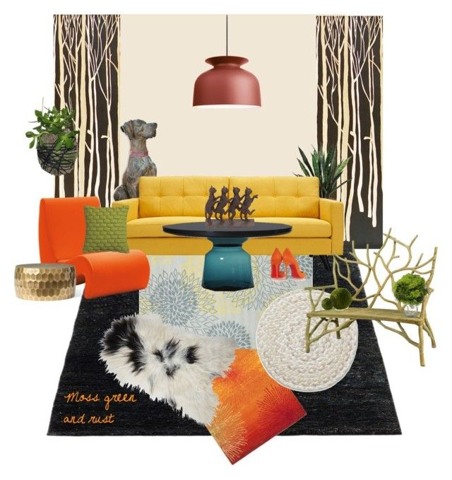 """moss green and rust interior idea"" by marievel on Polyvore featuring interior, interiors, interior design, home, home decor, interior decorating, Safavieh, Chandra Rugs, Sphinx by Oriental Weavers and Toast"