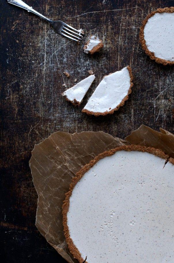 coconut custard vanilla tart with toasted coconut crush, (vegan).