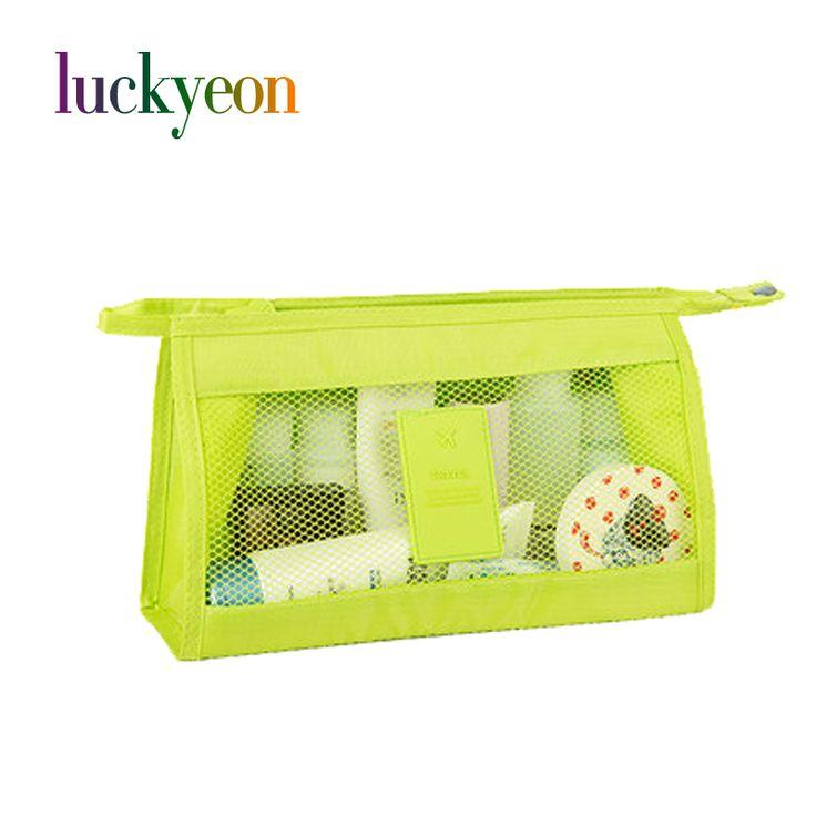 Fashion Women Travel Cosmetic Bag High Capacity Portable Mesh Transparent Mak Up Storage Nylon Bags