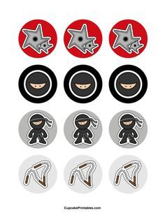 Ninja cupcake toppers. Use the circles for cupcakes, party favor tags, and more. Free printable PDF download at http://cupcakeprintables.com/toppers/ninja-cupcake-toppers/