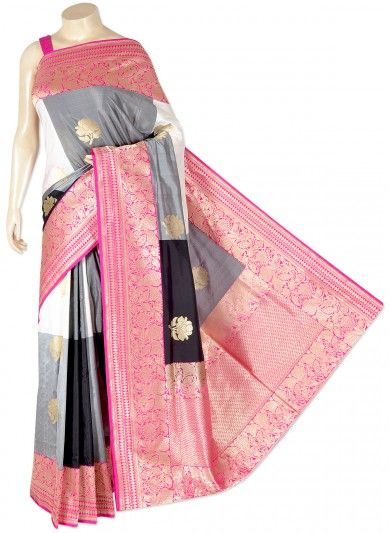 Grey Black and White Pure Silk Banarasi Saree