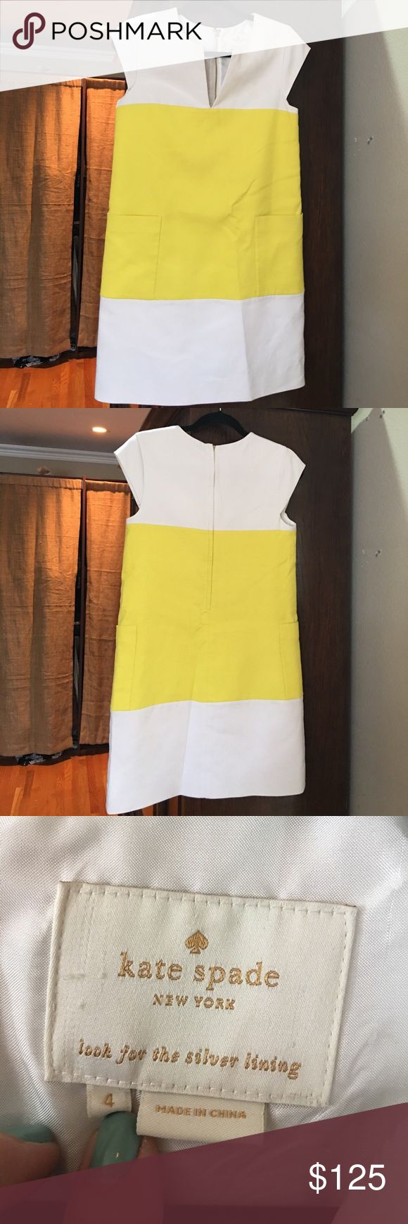 Kate Spade Look For The Silver Lining Dress White and yellow colorblock cap sleeves shift zip up back slit neckline size 4 kate spade Dresses Mini