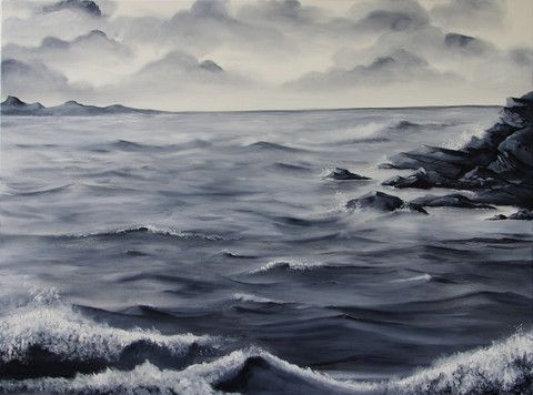 black and white on canvas, the sea