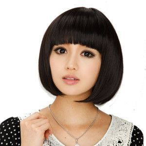Beautiful Black Hair Color Girl Short Bob Hairstyles Korean With Silver Necklace,  #Beautiful...