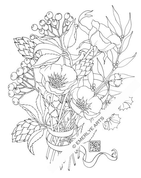 Poppy Love, an adult coloring page by Cynthia Emerlye, available as a digital download on Etsy.