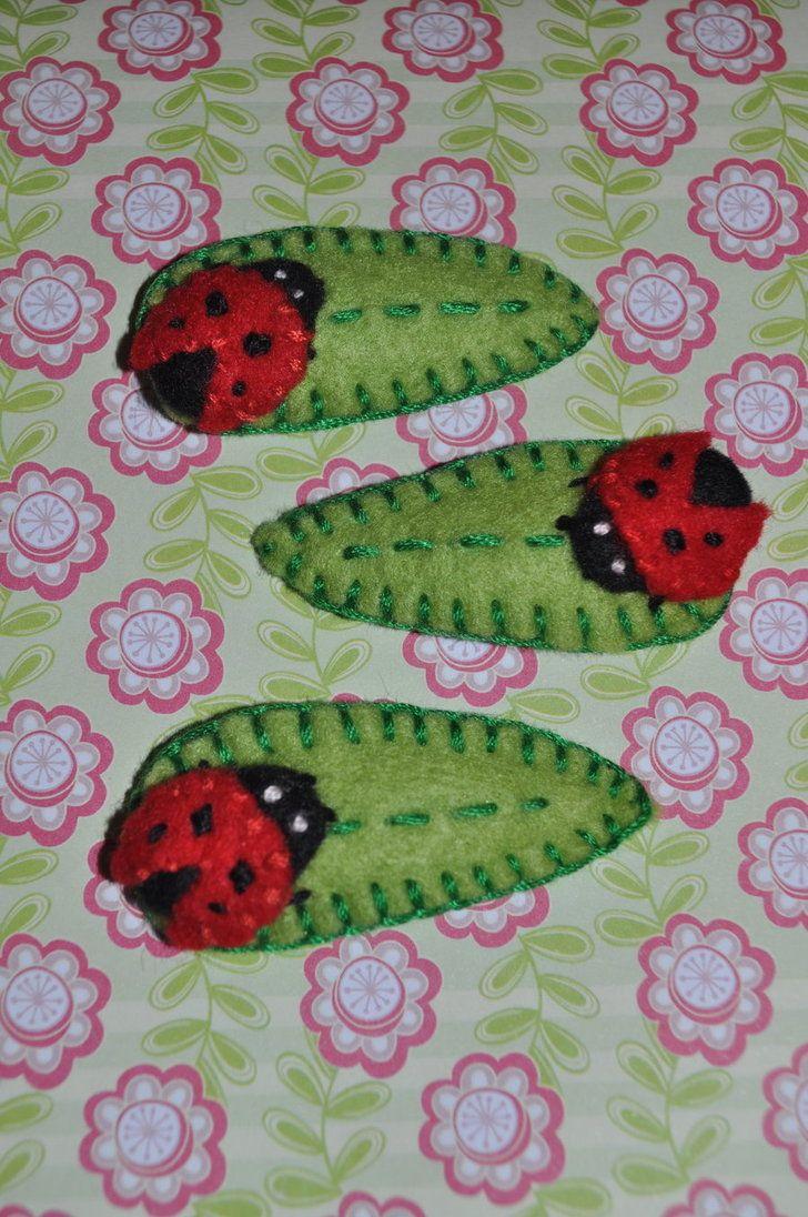 Ladybug ornaments - Felt Maybe Sewn Onto Clip Barretts