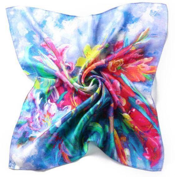 """20"""" Small Square 100% Silk Scarf Women Neckerchief Shawl Wrap Blue Red S115-011"""