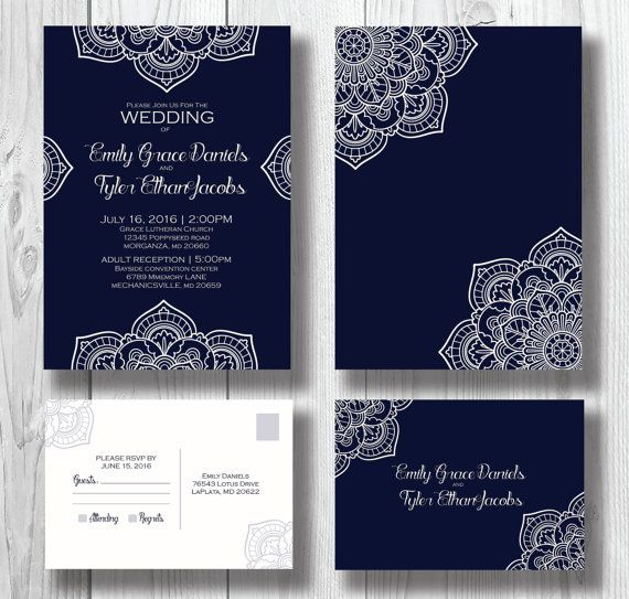 Navy Blue Wedding Invitation Suite Navy by BirdcageInvitations