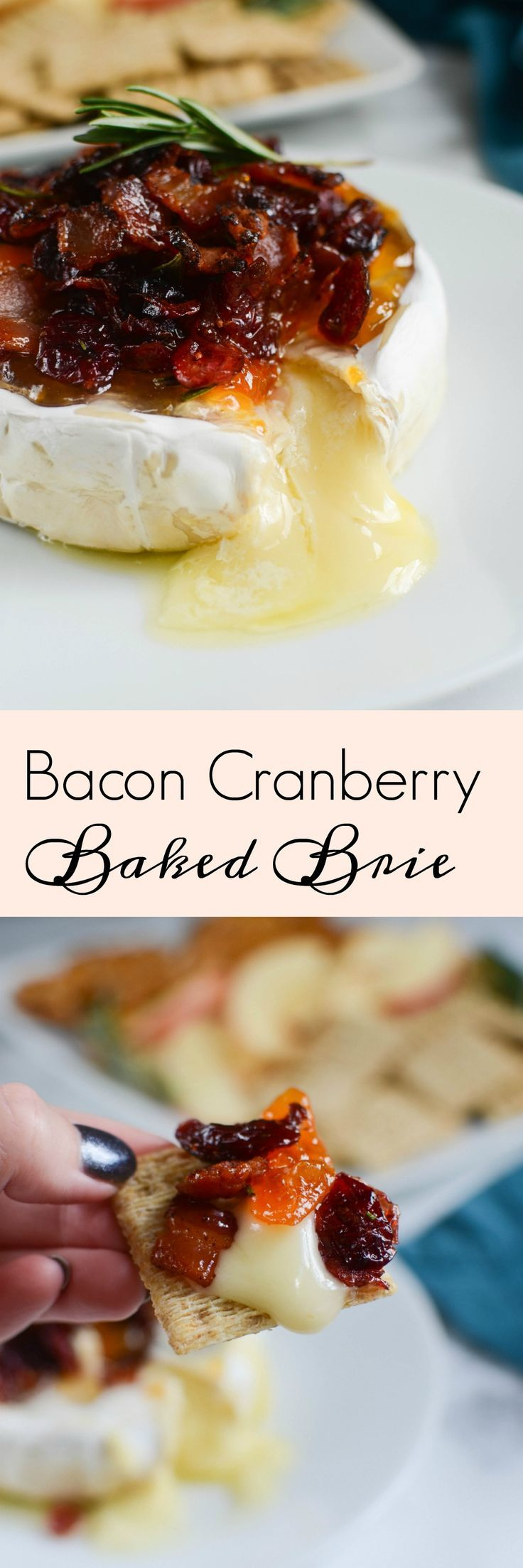 Bacon Cranberry Baked Brie - the perfect holiday appetizer! The sweet and salty combo is so delicious! #AD #MakeHolidaysHappen #ILikeALDI