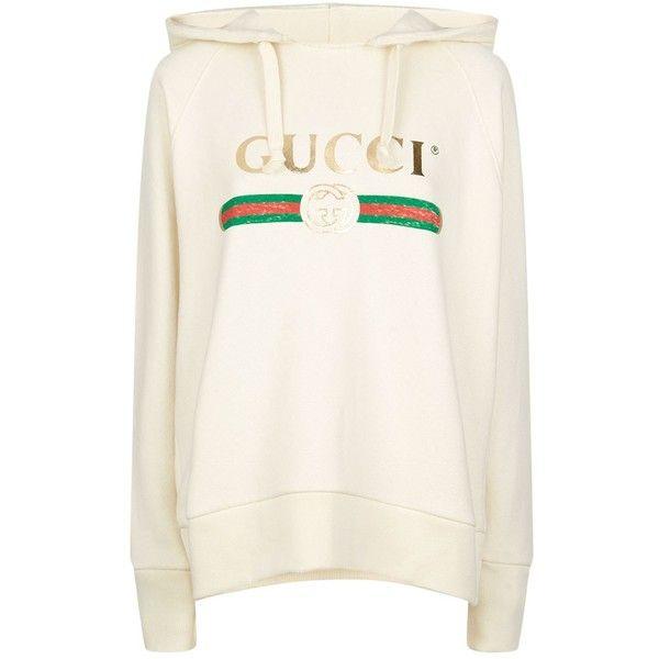 Gucci Vintage Logo Hooded Sweatshirt ($1,780) ❤ liked on Polyvore featuring tops, hoodies, hooded sweatshirt, white hoodie, hooded pullover, white tops and reversible hoodie