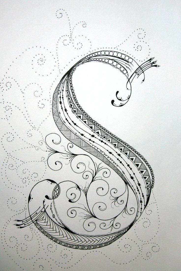 """ZenTangle Alphabet Drawing on Bright White Drawing Paper with """"Micron"""" Ink and """"Gelly Roll"""" Gel Pens.. $19.99, via Etsy. #Zentangle #Art"""