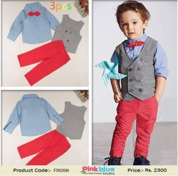 Toddler Boys Dresswear - Kids Formal Party Outfit, 3 Piece Baby Boys Wedding Suit With Coat+Shirt+Jeans, Children Clothing Set for 4-8 Yrs Old Baby Boys