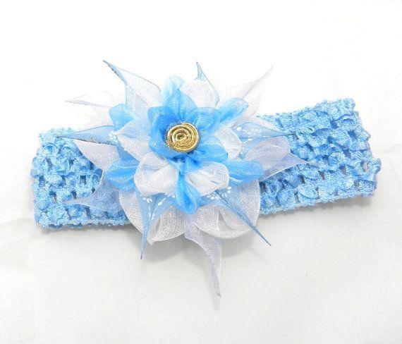 Baby headband whis tsumami kanzashi flower by LazuritLouise