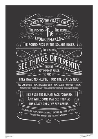 Inspirational quotes: Think Different /The Crazy One's poster Black – www.posterama.co