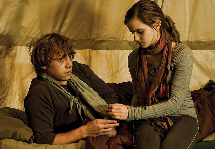 """Ron & Hermione """"There was a clatter as the basilisk fangs cascaded out of Hermione's arms. Running at Ron, she flung them around his neck and kissed him full on the mouth. Ron threw away the fangs and broomstick he was holding and responded with such enthusiasm that he lifted Hermione off her feet."""""""