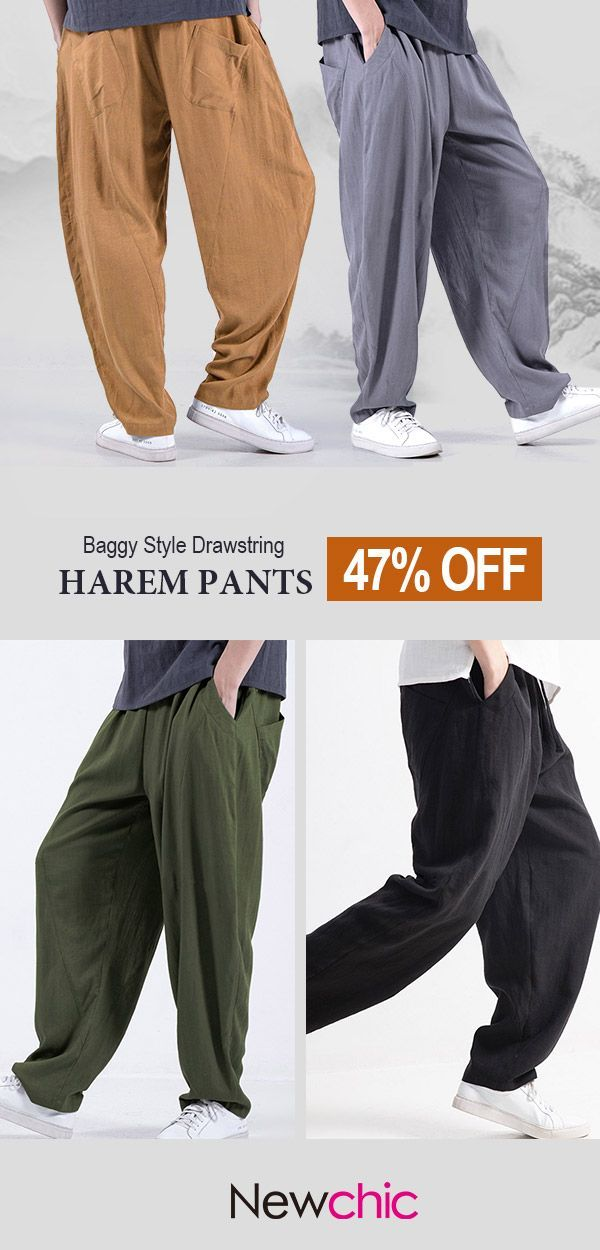 ac48ed69d6abbf Mens Baggy Style Cotton Solid Color Loose Drawstring Casual Harem Pants