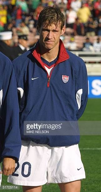 United States National Soccer Team player Brian McBride poses at the Gold Cup tournament in Pasadena California 19 January 2002 AFP PHOTO/Mike NELSON