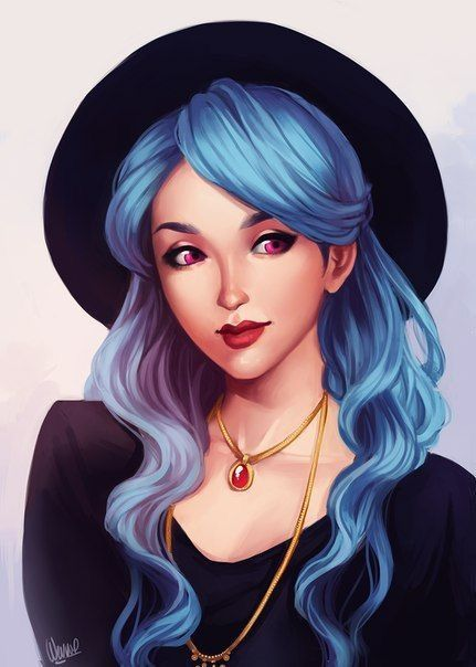 artistic blue-haired girl drawing